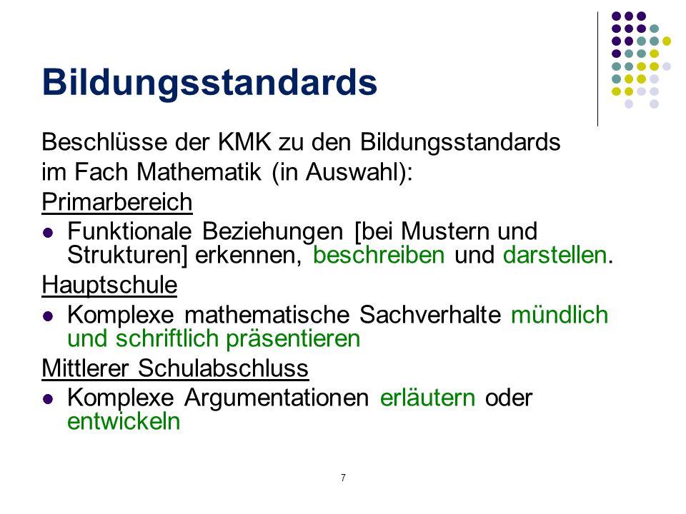 Beschlüsse der KMK zu den Bildungsstandards im Fach Mathematik (in Auswahl): Primarbereich Funktionale Beziehungen [bei Mustern und Strukturen] erkenn