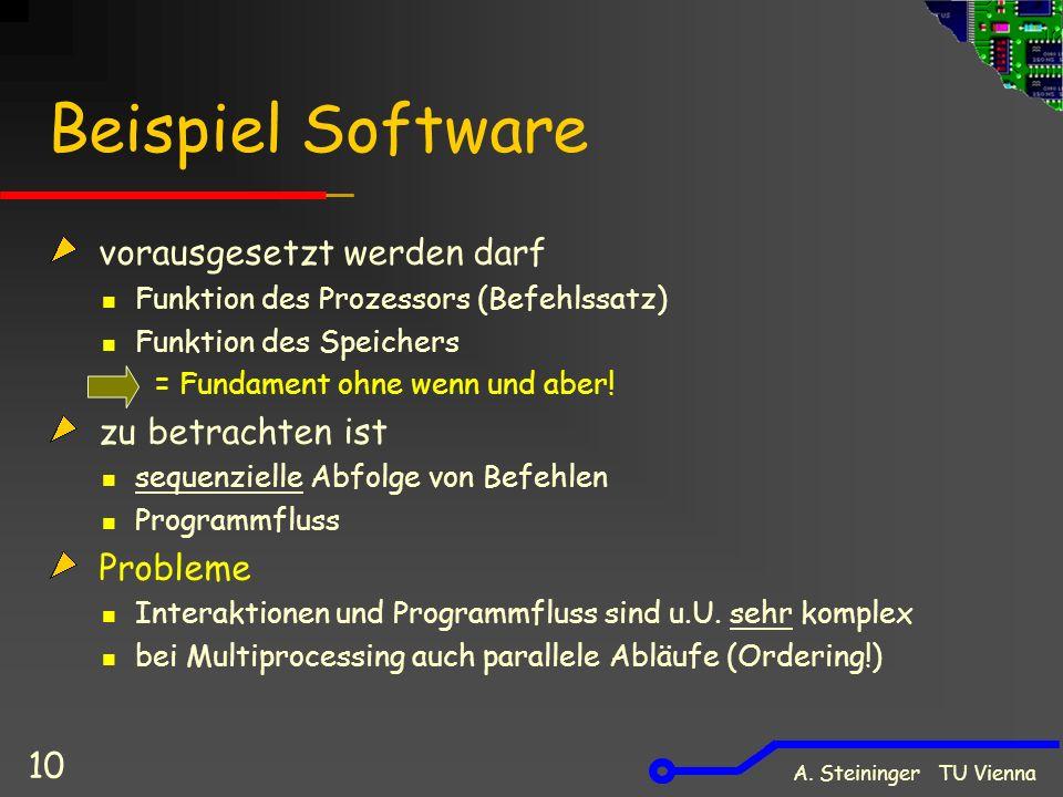 A. Steininger TU Vienna 10 Beispiel Software vorausgesetzt werden darf Funktion des Prozessors (Befehlssatz) Funktion des Speichers = Fundament ohne w