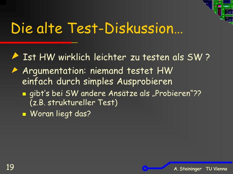 A. Steininger TU Vienna 19 Die alte Test-Diskussion… Ist HW wirklich leichter zu testen als SW ? Argumentation: niemand testet HW einfach durch simple