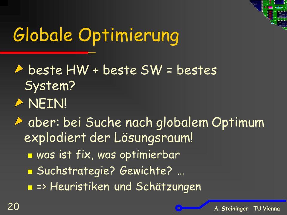 A. Steininger TU Vienna 20 Globale Optimierung beste HW + beste SW = bestes System? NEIN! aber: bei Suche nach globalem Optimum explodiert der Lösungs