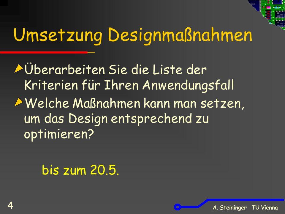 A. Steininger TU Vienna 4 Umsetzung Designmaßnahmen Überarbeiten Sie die Liste der Kriterien für Ihren Anwendungsfall Welche Maßnahmen kann man setzen
