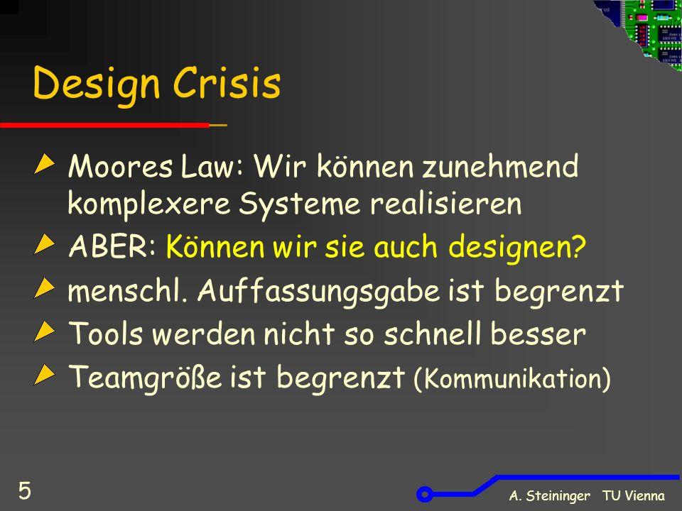 A. Steininger TU Vienna 5 Design Crisis Moores Law: Wir können zunehmend komplexere Systeme realisieren ABER: Können wir sie auch designen? menschl. A