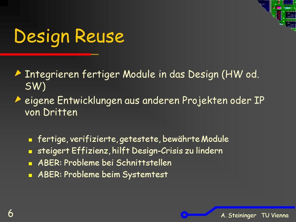 A. Steininger TU Vienna 6 Design Reuse Integrieren fertiger Module in das Design (HW od. SW) eigene Entwicklungen aus anderen Projekten oder IP von Dr