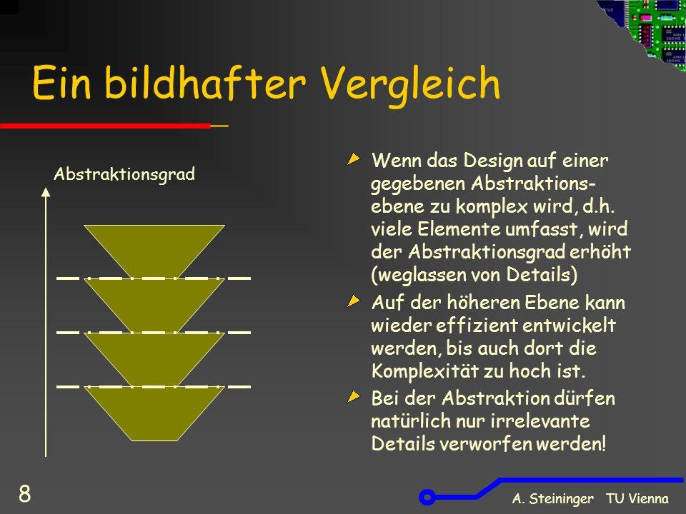 A. Steininger TU Vienna 8 Ein bildhafter Vergleich Wenn das Design auf einer gegebenen Abstraktions- ebene zu komplex wird, d.h. viele Elemente umfass