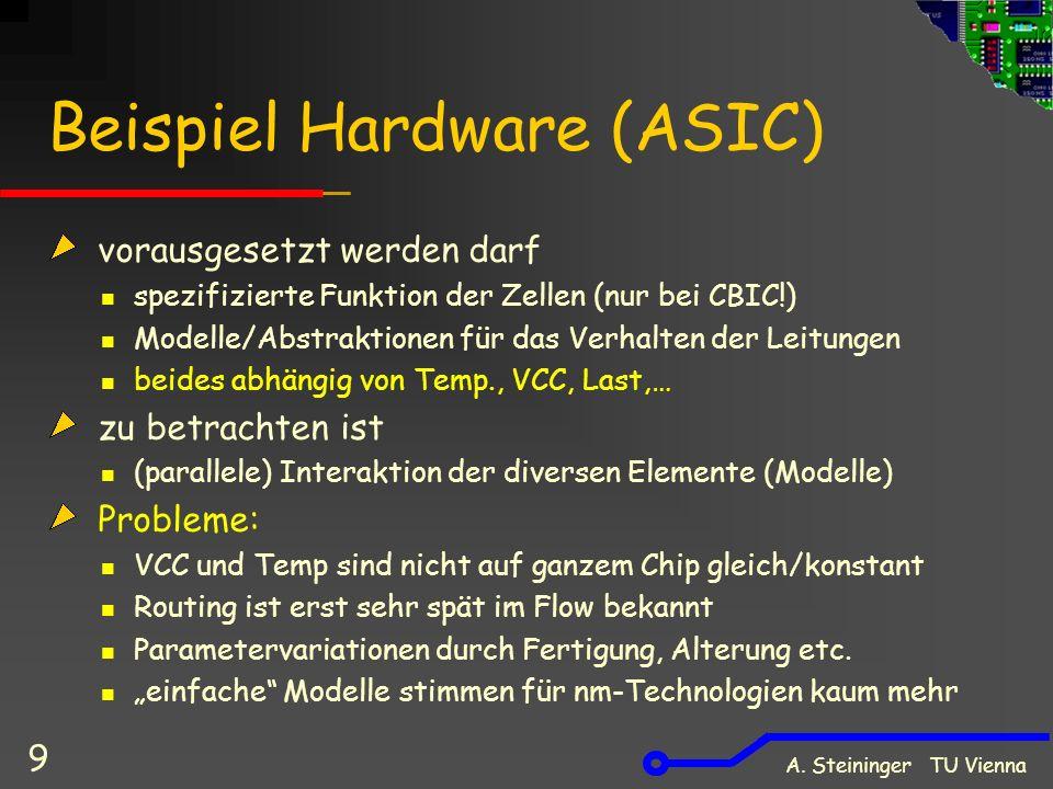 A. Steininger TU Vienna 9 Beispiel Hardware (ASIC) vorausgesetzt werden darf spezifizierte Funktion der Zellen (nur bei CBIC!) Modelle/Abstraktionen f