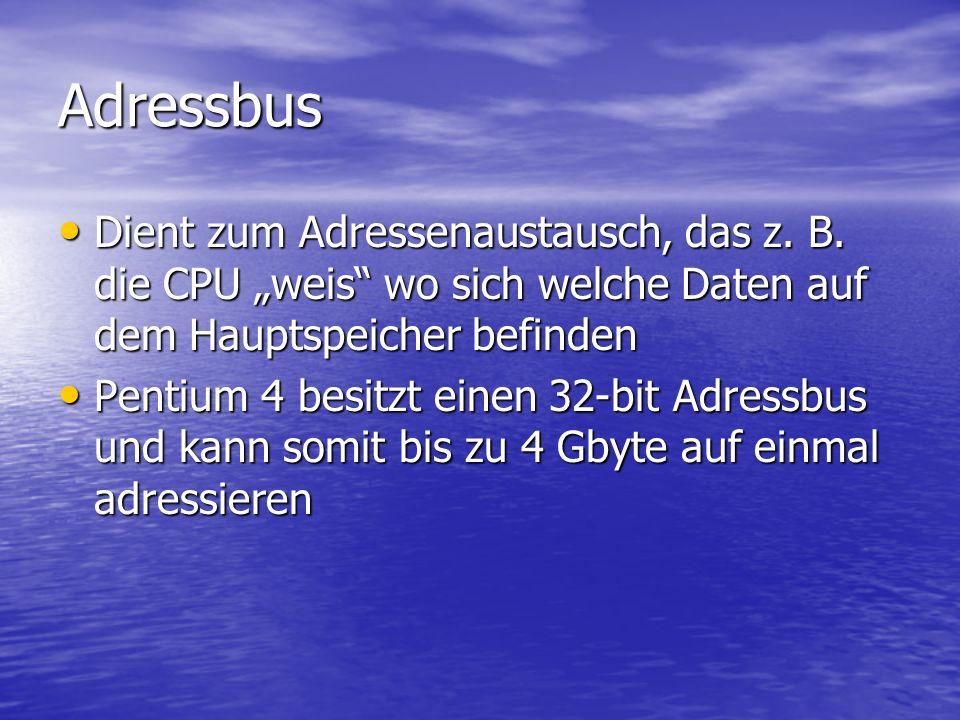 Datenbus Damit werden die Daten übertragen die verarbeitet werden sollen Damit werden die Daten übertragen die verarbeitet werden sollen Die Leistungsfähigkeit eines solchen Busses hängt von der Anzahl der Leitungen ab Die Leistungsfähigkeit eines solchen Busses hängt von der Anzahl der Leitungen ab