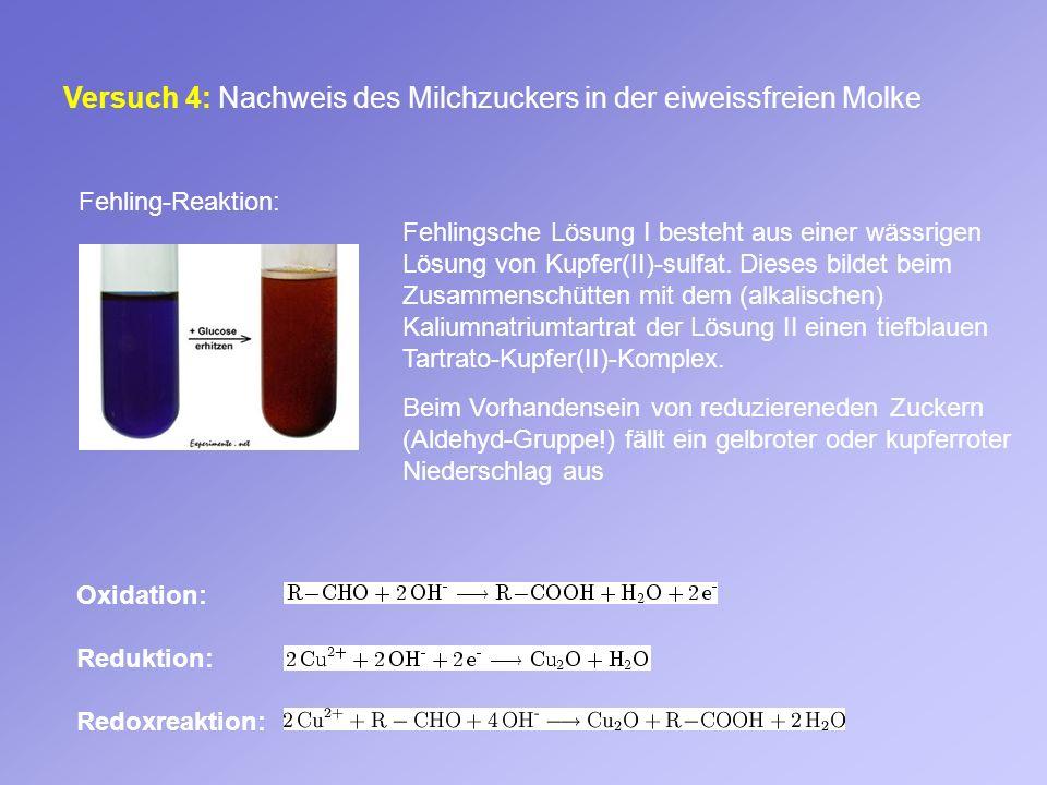 Versuch 4: Nachweis des Milchzuckers in der eiweissfreien Molke Oxidation: Reduktion: Redoxreaktion: Fehling-Reaktion: Fehlingsche Lösung I besteht au