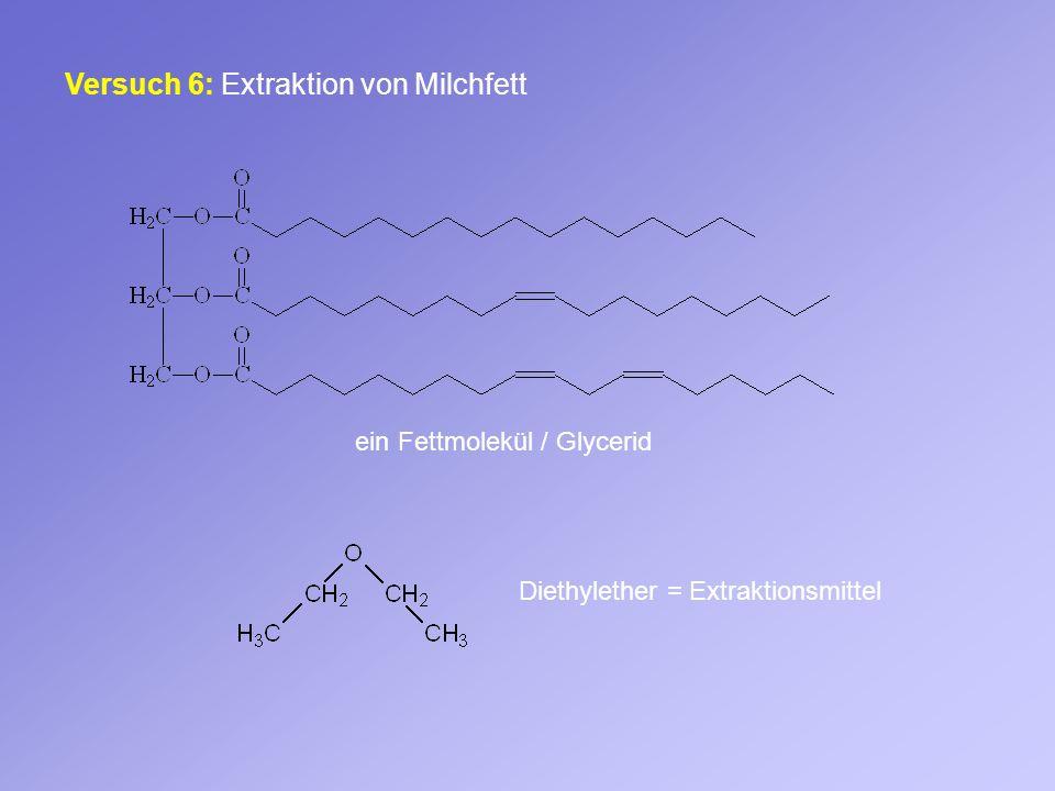 Versuch 6: Extraktion von Milchfett ein Fettmolekül / Glycerid Diethylether = Extraktionsmittel