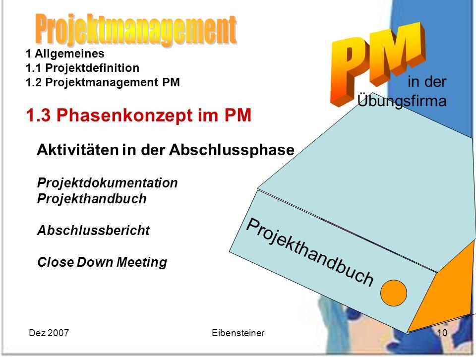 Dez 2007Eibensteiner10 1 Allgemeines 1.1 Projektdefinition 1.2 Projektmanagement PM 1.3 Phasenkonzept im PM Aktivitäten in der Abschlussphase Projektd