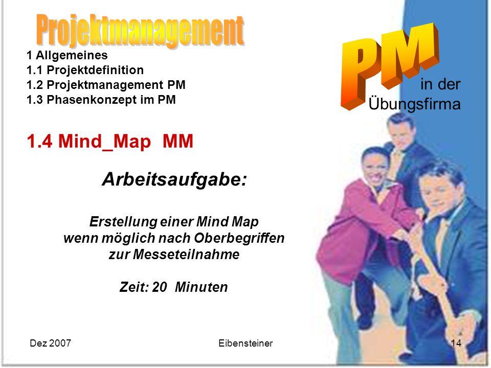 Dez 2007Eibensteiner14 in der Übungsfirma 1 Allgemeines 1.1 Projektdefinition 1.2 Projektmanagement PM 1.3 Phasenkonzept im PM 1.4 Mind_Map MM Arbeits