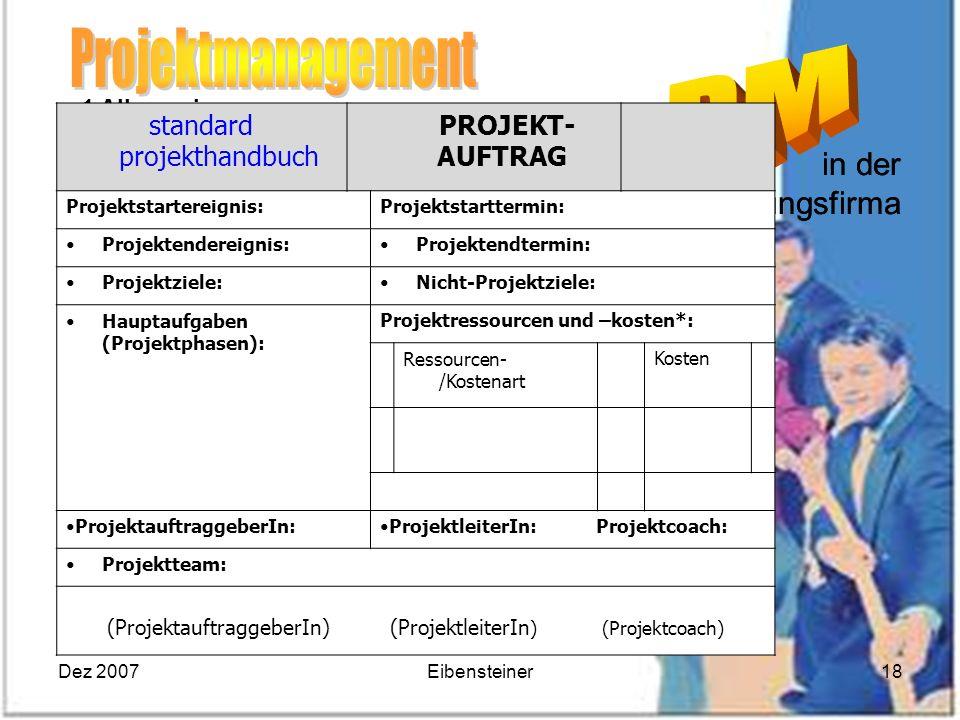 Dez 2007Eibensteiner18 1 Allgemeines 1.1 Projektdefinition 1.2 Projektmanagement PM 1.3 Phasenkonzept im PM 1.4 Mind_Map MM 1.5 Ziele 1.6 Projektteamb