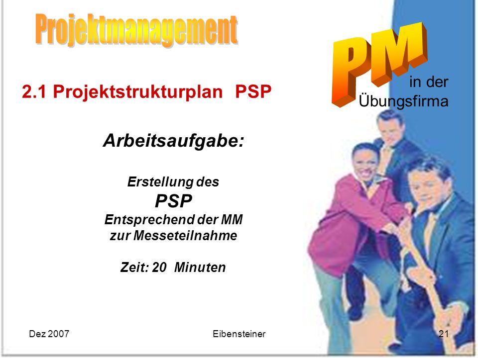Dez 2007Eibensteiner21 in der Übungsfirma Arbeitsaufgabe: Erstellung des PSP Entsprechend der MM zur Messeteilnahme Zeit: 20 Minuten 2.1 Projektstrukt