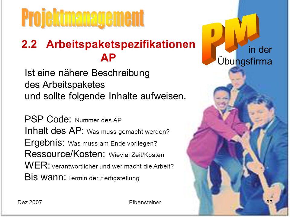 Dez 2007Eibensteiner23 in der Übungsfirma 2.2 Arbeitspaketspezifikationen AP Ist eine nähere Beschreibung des Arbeitspaketes und sollte folgende Inhal