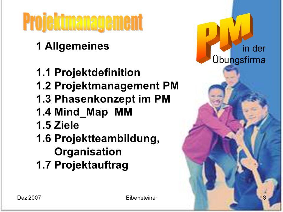 Dez 2007Eibensteiner3 in der Übungsfirma 1 Allgemeines 1.1 Projektdefinition 1.2 Projektmanagement PM 1.3 Phasenkonzept im PM 1.4 Mind_Map MM 1.5 Ziel