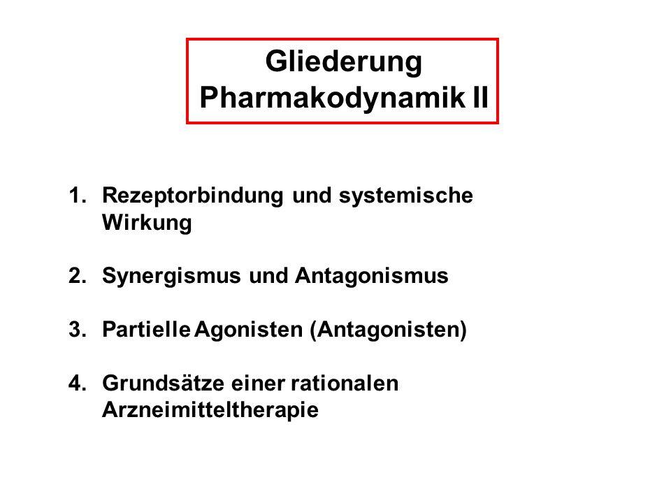 Gliederung Pharmakodynamik II 1.Rezeptorbindung und systemische Wirkung 2.Synergismus und Antagonismus 3.Partielle Agonisten (Antagonisten) 4.Grundsät