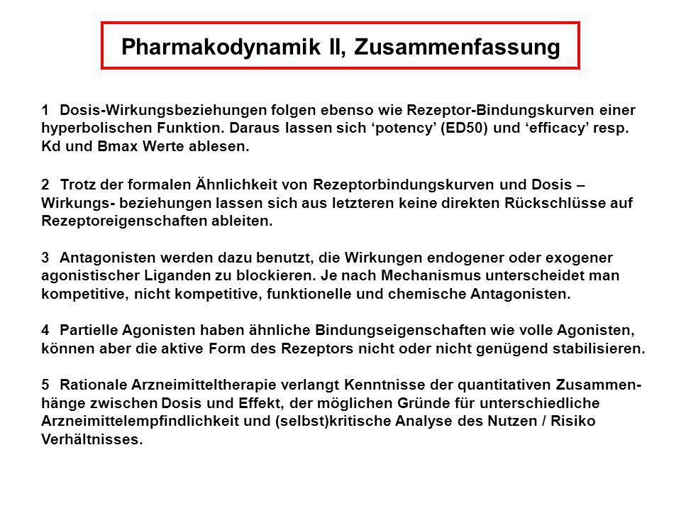 Pharmakodynamik II, Zusammenfassung 1 Dosis-Wirkungsbeziehungen folgen ebenso wie Rezeptor-Bindungskurven einer hyperbolischen Funktion. Daraus lassen