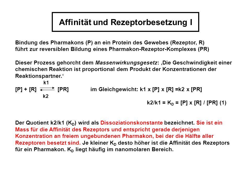 Affinität und Rezeptorbesetzung II Ausserdem gilt: R T (Gesamtzahl der Rezeptoren) = [R] + [PR] (2) Aus der Kombination von (1) und (2) ergibt sich die Beziehung zwischen der Zahl besetzter Rezeptoren, der freien Pharmakonkonzentration und der Dissoziationskonstanten [PR] = [R T ] x [P] / (K D + [P]) Analog gilt für den Zusammenhang zwischen Wirkung (W) und freier Pharmakonkonzentration [P] unter der Annahme, dass W portional [PR] ist: W = W max x [P] / (ED 50 + [P])