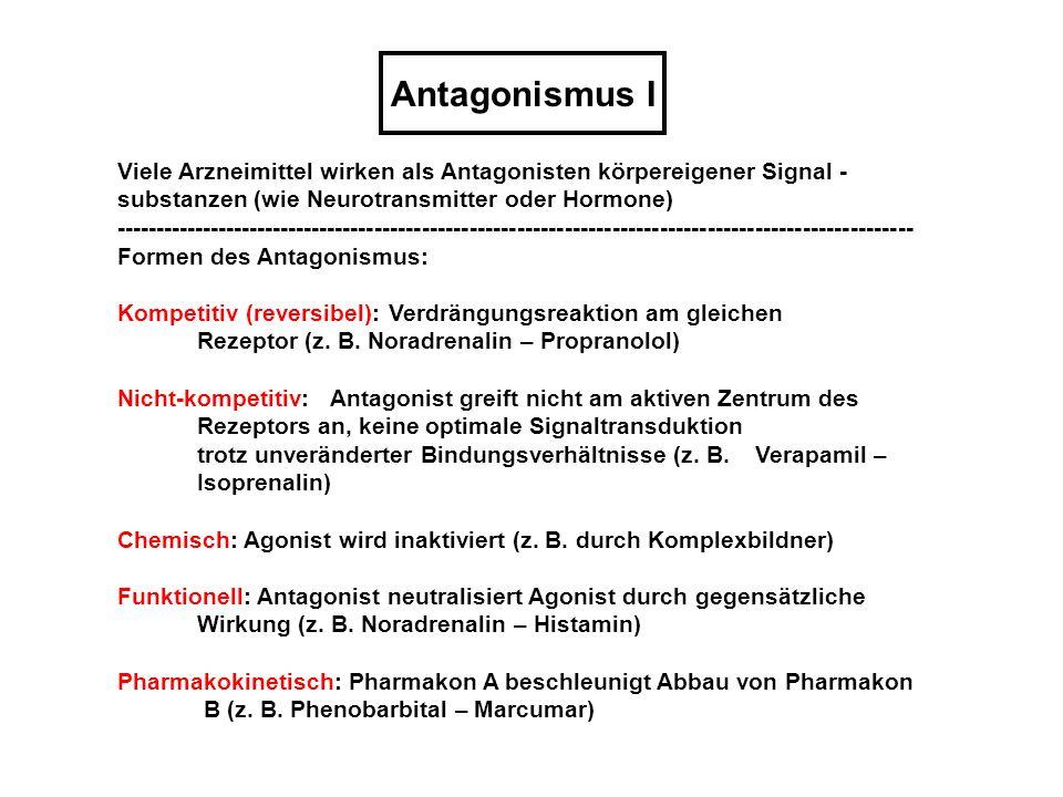Antagonismus I Viele Arzneimittel wirken als Antagonisten körpereigener Signal - substanzen (wie Neurotransmitter oder Hormone) ----------------------