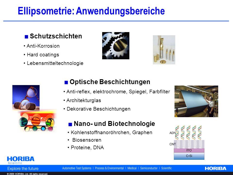 © 2009 HORIBA, Ltd. All rights reserved. Nano- und Biotechnologie Kohlenstoffnanoröhrchen, Graphen Biosensoren Proteine, DNA Schutzschichten Anti-Korr