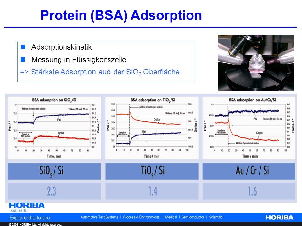 © 2009 HORIBA, Ltd. All rights reserved. Protein (BSA) Adsorption Adsorptionskinetik Messung in Flüssigkeitszelle => Stärkste Adsorption aud der SiO 2