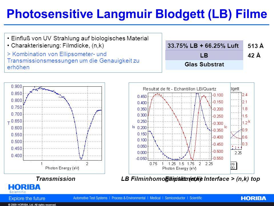 © 2009 HORIBA, Ltd. All rights reserved. Photosensitive Langmuir Blodgett (LB) Filme Einfluß von UV Strahlung auf biologisches Material Charakterisier