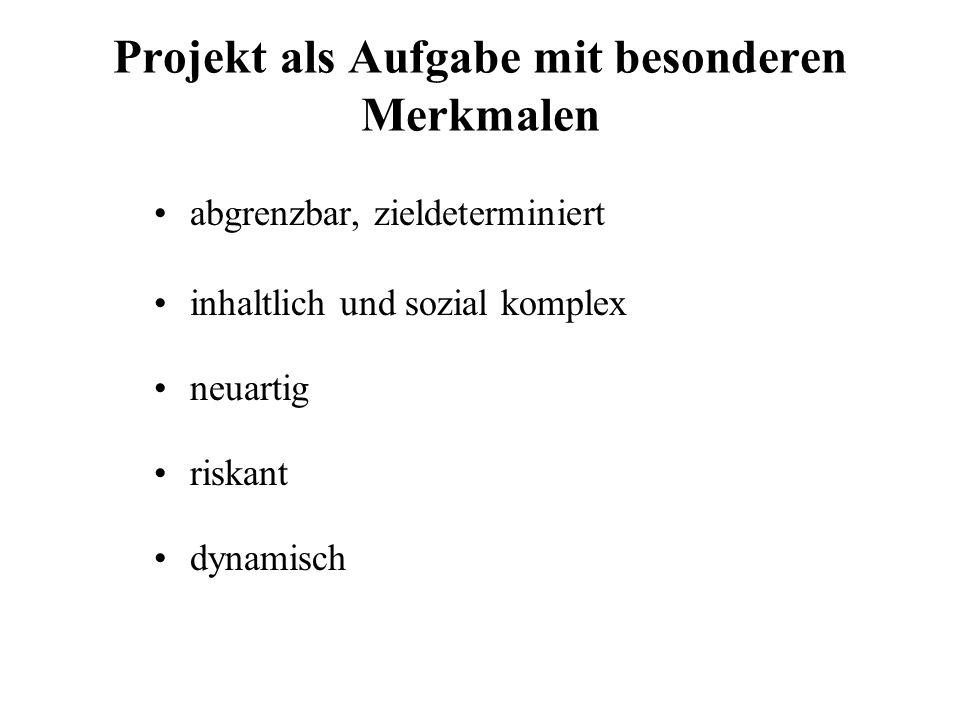 Projekt als Aufgabe mit besonderen Merkmalen abgrenzbar, zieldeterminiert inhaltlich und sozial komplex neuartig riskant dynamisch