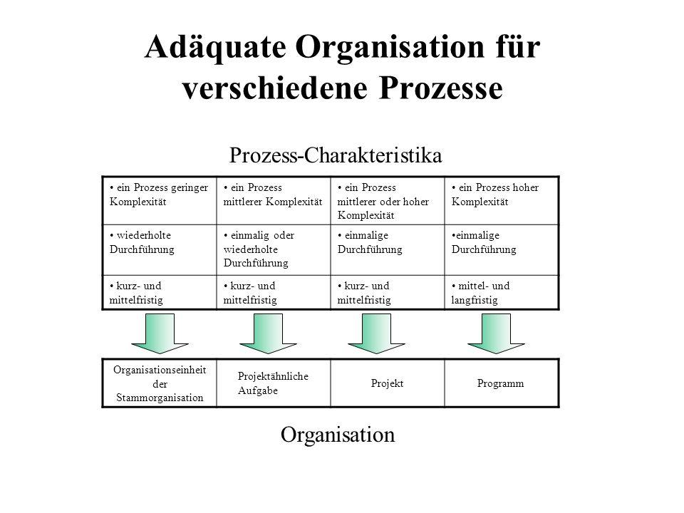 Adäquate Organisation für verschiedene Prozesse ein Prozess geringer Komplexität ein Prozess mittlerer Komplexität ein Prozess mittlerer oder hoher Komplexität ein Prozess hoher Komplexität wiederholte Durchführung einmalig oder wiederholte Durchführung einmalige Durchführung kurz- und mittelfristig mittel- und langfristig Organisationseinheit der Stammorganisation Projektähnliche Aufgabe ProjektProgramm Prozess-Charakteristika Organisation