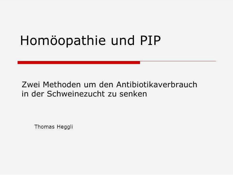 Homöopathie und PIP Thomas Heggli Zwei Methoden um den Antibiotikaverbrauch in der Schweinezucht zu senken