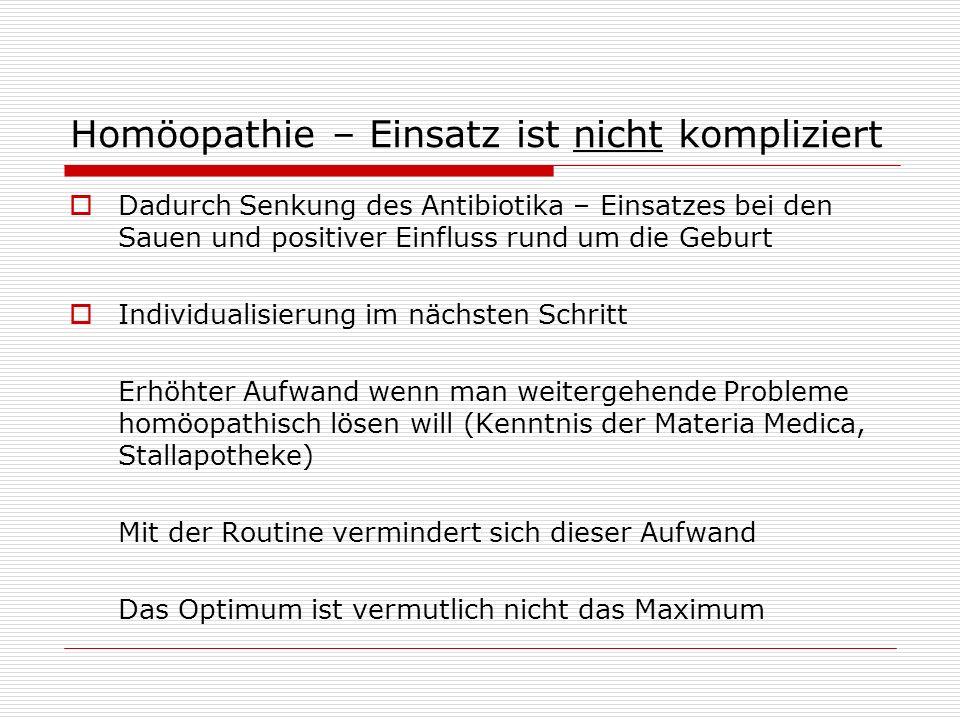 Homöopathie – Einsatz ist nicht kompliziert Dadurch Senkung des Antibiotika – Einsatzes bei den Sauen und positiver Einfluss rund um die Geburt Indivi
