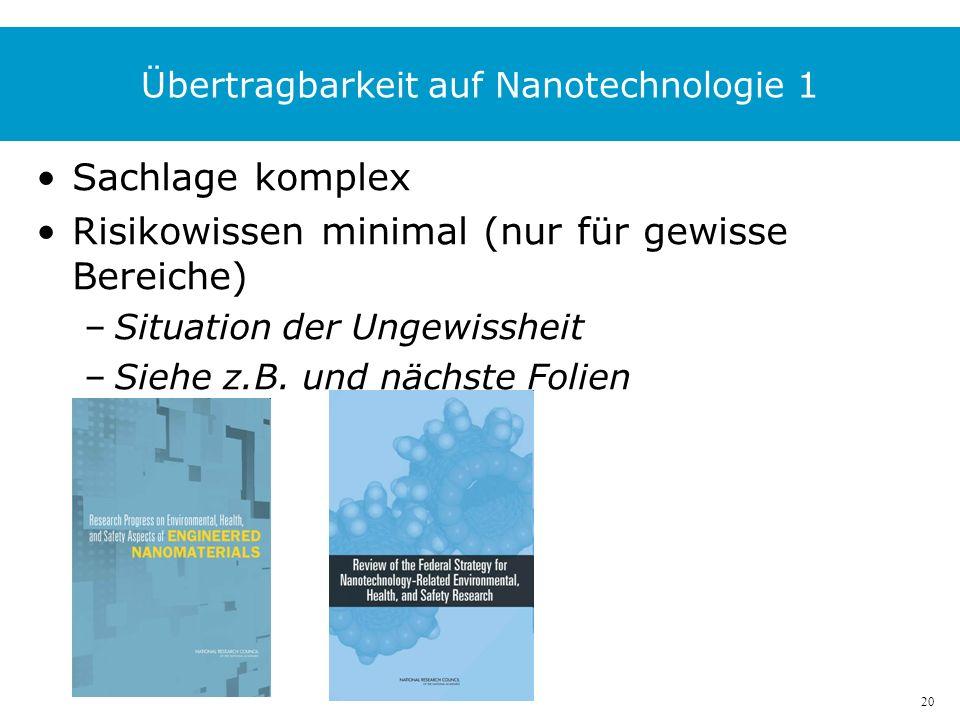 20 Übertragbarkeit auf Nanotechnologie 1 Sachlage komplex Risikowissen minimal (nur für gewisse Bereiche) –Situation der Ungewissheit –Siehe z.B.