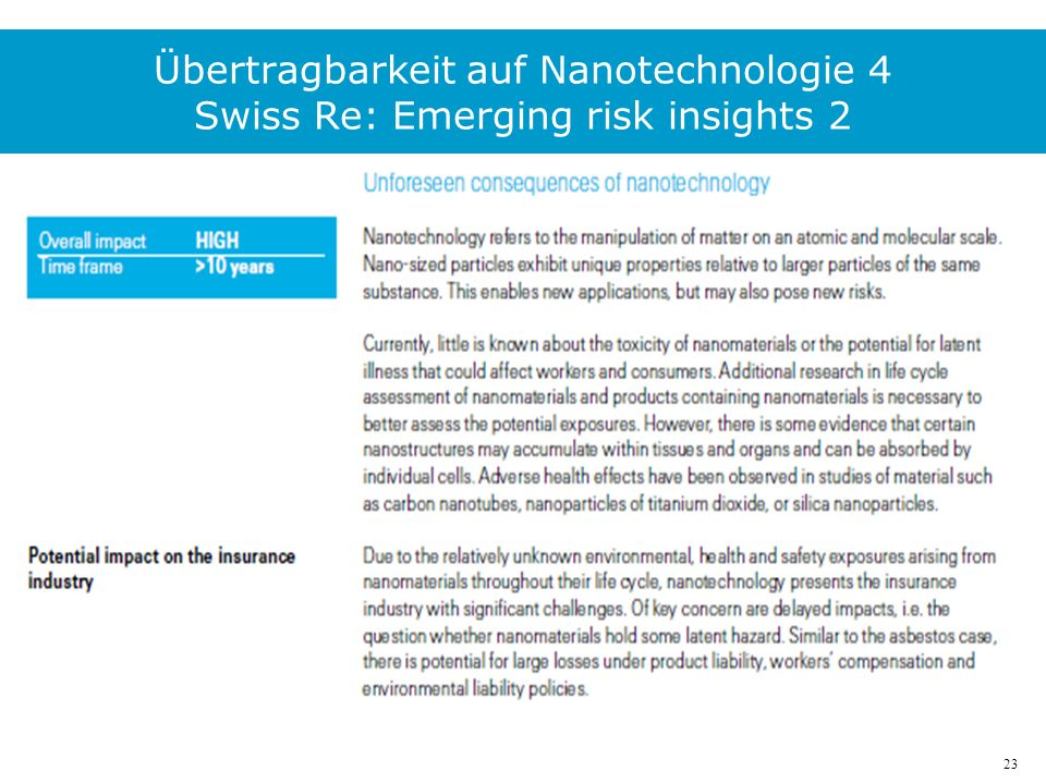 23 Übertragbarkeit auf Nanotechnologie 4 Swiss Re: Emerging risk insights 2