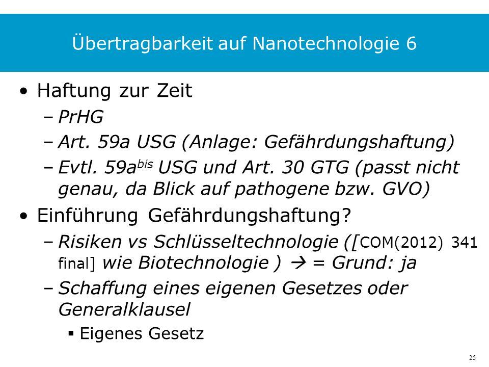 25 Übertragbarkeit auf Nanotechnologie 6 Haftung zur Zeit –PrHG –Art.