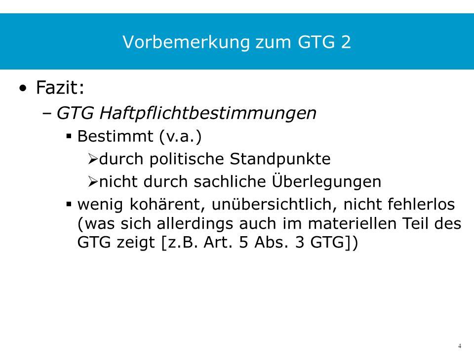 5 GTG Haftpflichtbestimmungen Art.30 GTG –Grundsätze Art.
