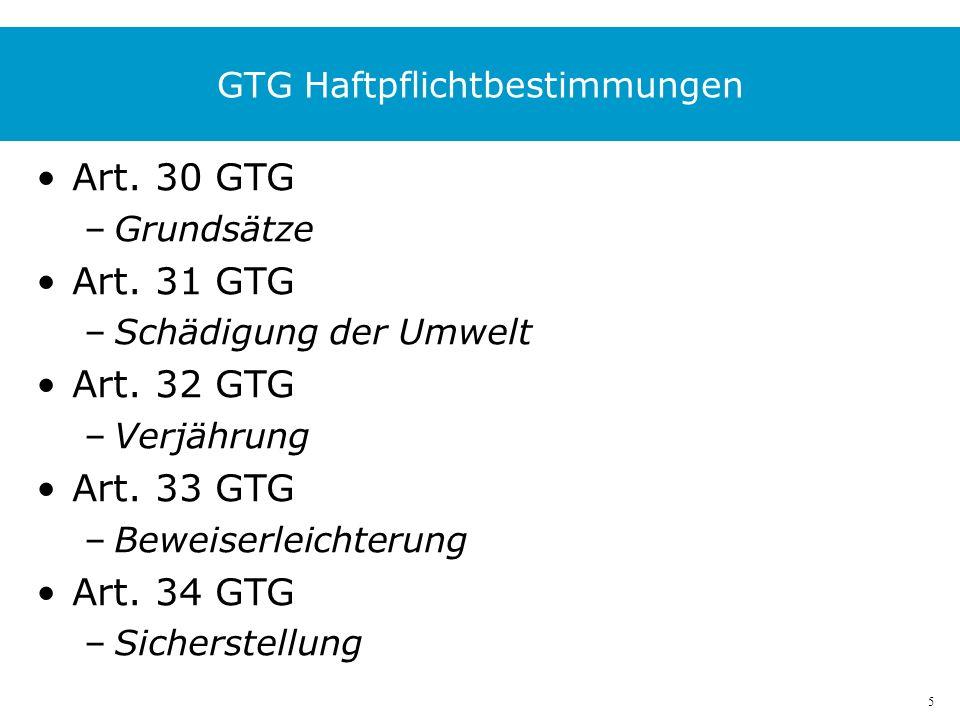 5 GTG Haftpflichtbestimmungen Art. 30 GTG –Grundsätze Art.