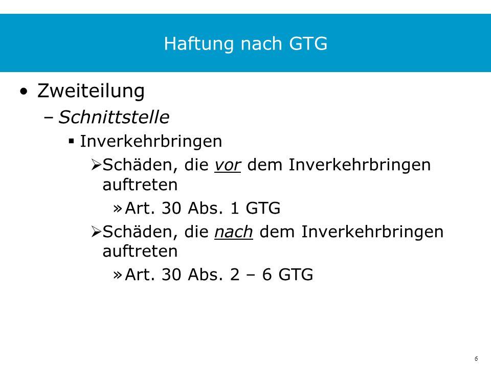 6 Haftung nach GTG Zweiteilung –Schnittstelle Inverkehrbringen Schäden, die vor dem Inverkehrbringen auftreten »Art.