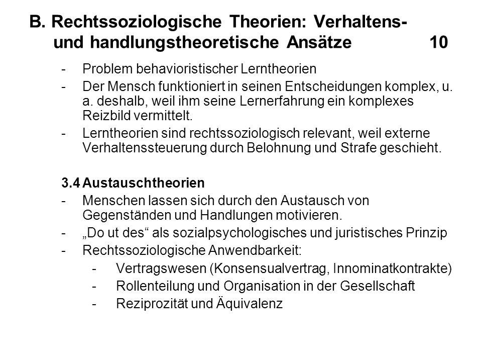 B. Rechtssoziologische Theorien: Verhaltens- und handlungstheoretische Ansätze 10 -Problem behavioristischer Lerntheorien -Der Mensch funktioniert in