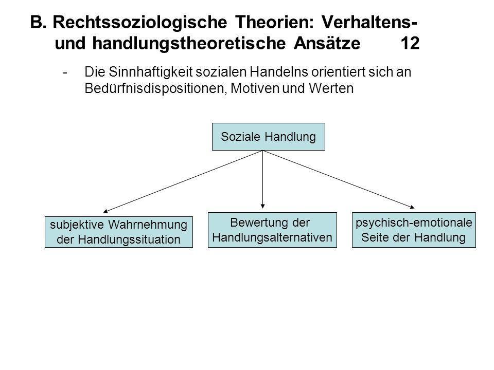 B. Rechtssoziologische Theorien: Verhaltens- und handlungstheoretische Ansätze 12 -Die Sinnhaftigkeit sozialen Handelns orientiert sich an Bedürfnisdi