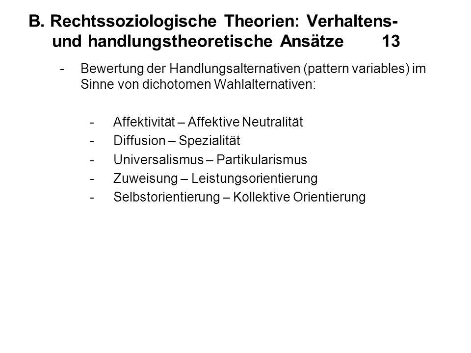 B. Rechtssoziologische Theorien: Verhaltens- und handlungstheoretische Ansätze 13 -Bewertung der Handlungsalternativen (pattern variables) im Sinne vo