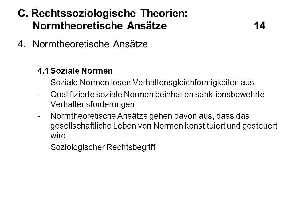 C. Rechtssoziologische Theorien: Normtheoretische Ansätze14 4.Normtheoretische Ansätze 4.1Soziale Normen -Soziale Normen lösen Verhaltensgleichförmigk