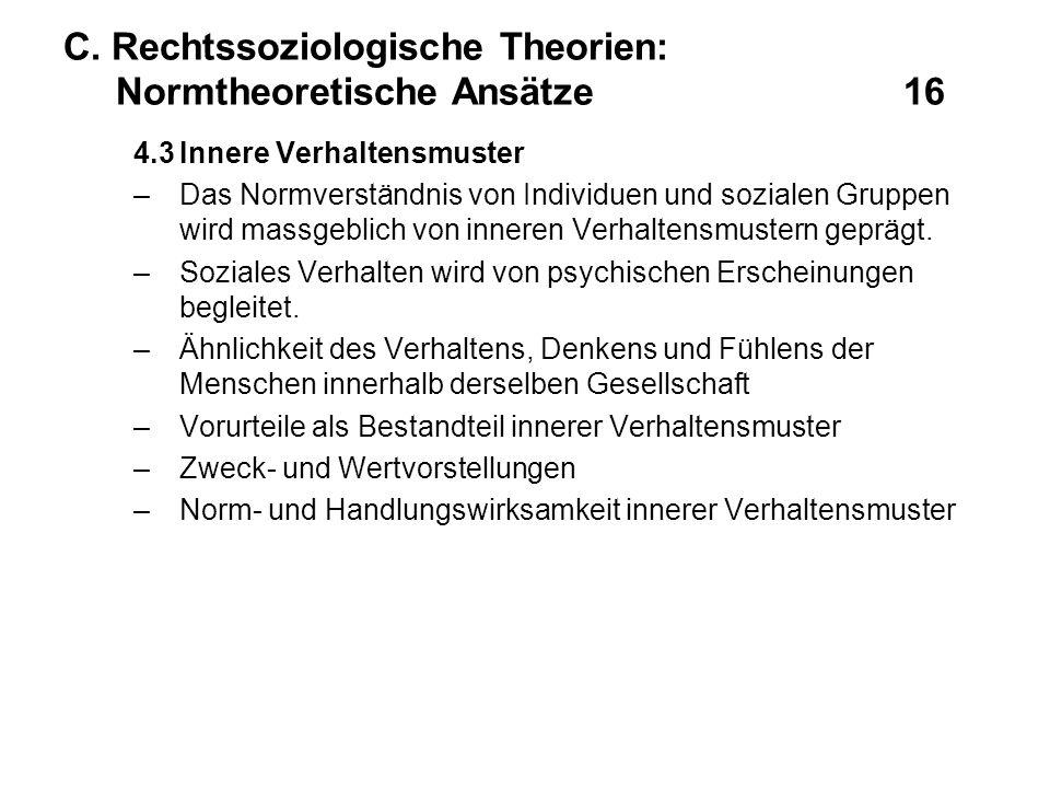 C. Rechtssoziologische Theorien: Normtheoretische Ansätze16 4.3Innere Verhaltensmuster –Das Normverständnis von Individuen und sozialen Gruppen wird m