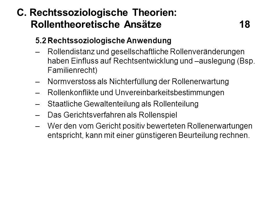 C. Rechtssoziologische Theorien: Rollentheoretische Ansätze18 5.2Rechtssoziologische Anwendung –Rollendistanz und gesellschaftliche Rollenveränderunge