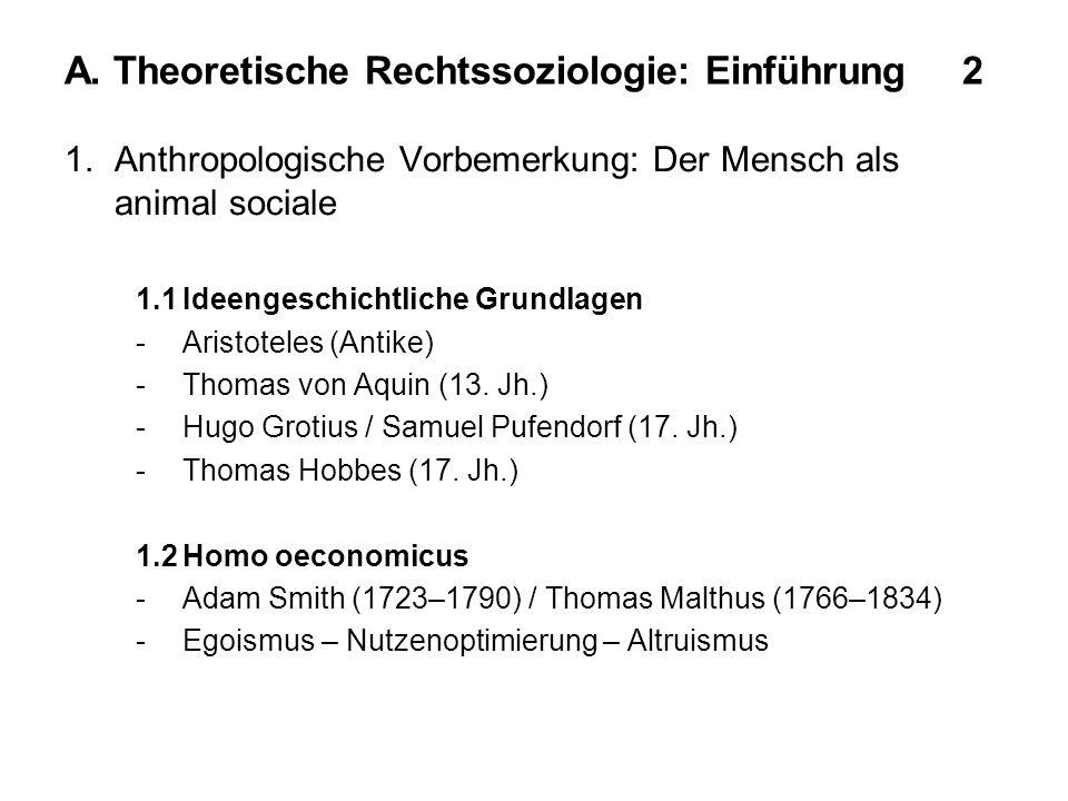 A. Theoretische Rechtssoziologie: Einführung 2 1.Anthropologische Vorbemerkung: Der Mensch als animal sociale 1.1Ideengeschichtliche Grundlagen -Arist