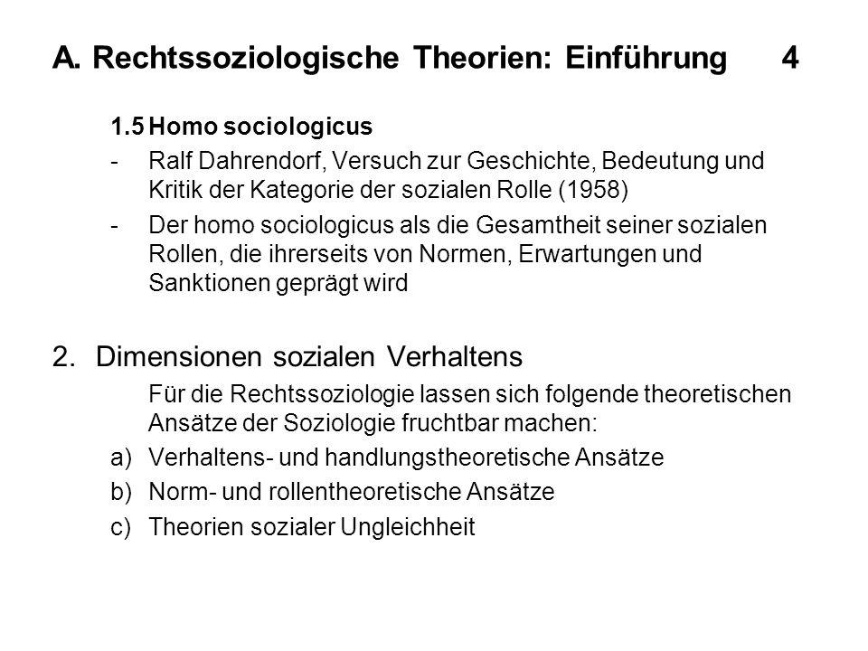 A. Rechtssoziologische Theorien: Einführung 4 1.5Homo sociologicus -Ralf Dahrendorf, Versuch zur Geschichte, Bedeutung und Kritik der Kategorie der so