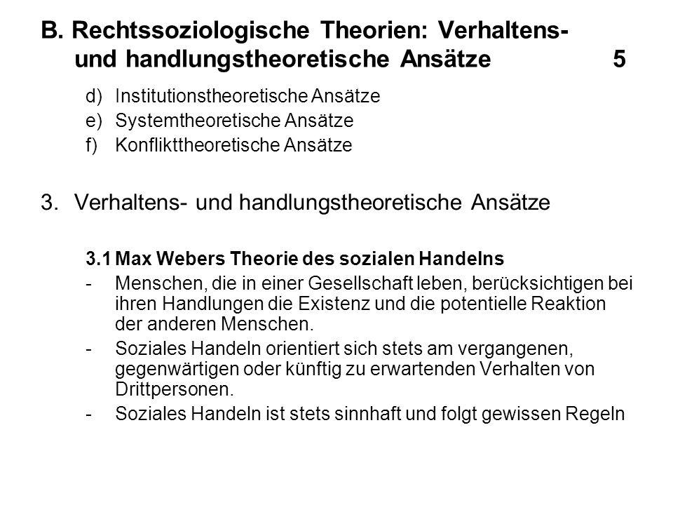 B. Rechtssoziologische Theorien: Verhaltens- und handlungstheoretische Ansätze 5 d)Institutionstheoretische Ansätze e)Systemtheoretische Ansätze f)Kon