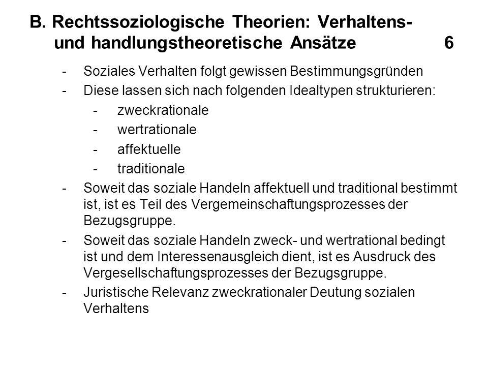 B. Rechtssoziologische Theorien: Verhaltens- und handlungstheoretische Ansätze 6 -Soziales Verhalten folgt gewissen Bestimmungsgründen -Diese lassen s