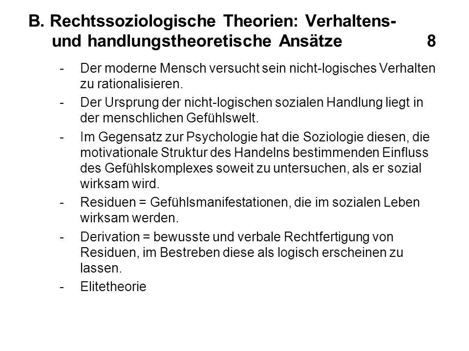 B. Rechtssoziologische Theorien: Verhaltens- und handlungstheoretische Ansätze 8 -Der moderne Mensch versucht sein nicht-logisches Verhalten zu ration