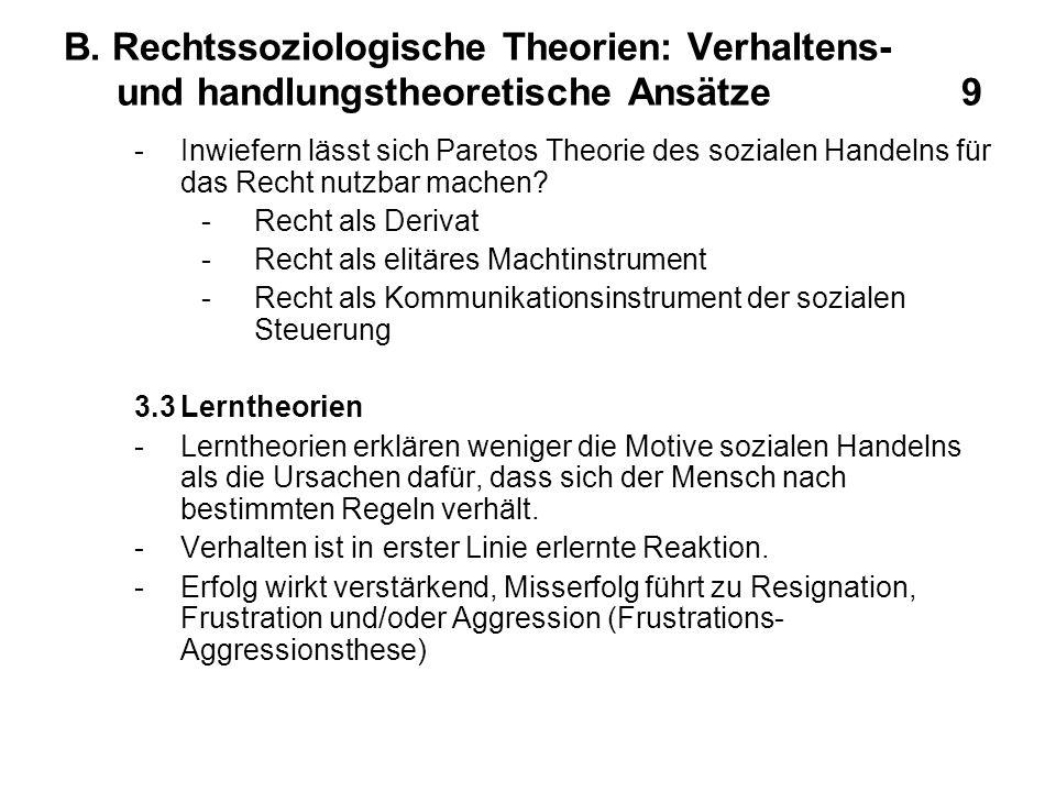B. Rechtssoziologische Theorien: Verhaltens- und handlungstheoretische Ansätze 9 -Inwiefern lässt sich Paretos Theorie des sozialen Handelns für das R