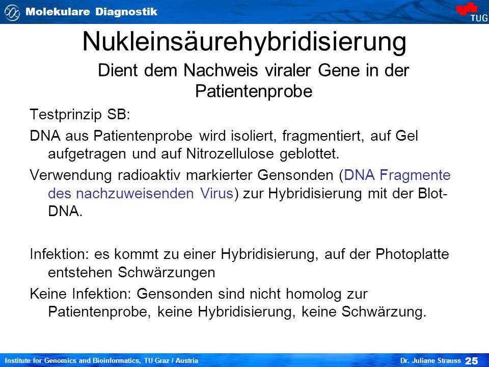 Molekulare Diagnostik 25 Institute for Genomics and Bioinformatics, TU Graz / Austria Dr.