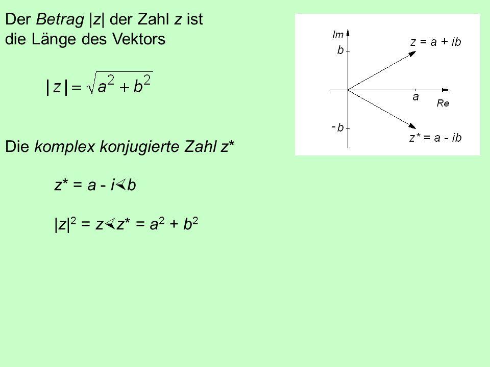 Der Betrag |z| der Zahl z ist die Länge des Vektors Die komplex konjugierte Zahl z*
