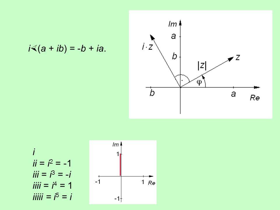 Addition und Subtraktion erfolgen komponentenweise: (a + ib) + (c + id) = (a + c) + i(b + d) (a + ib) - (c + id) = (a - c) + i(b - d) Bei der Multipli